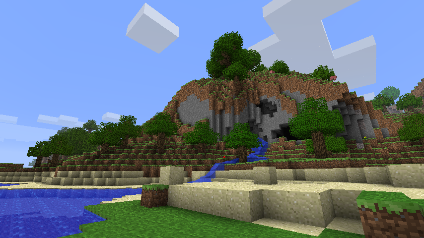 A screenshot of the Minecraft landscape